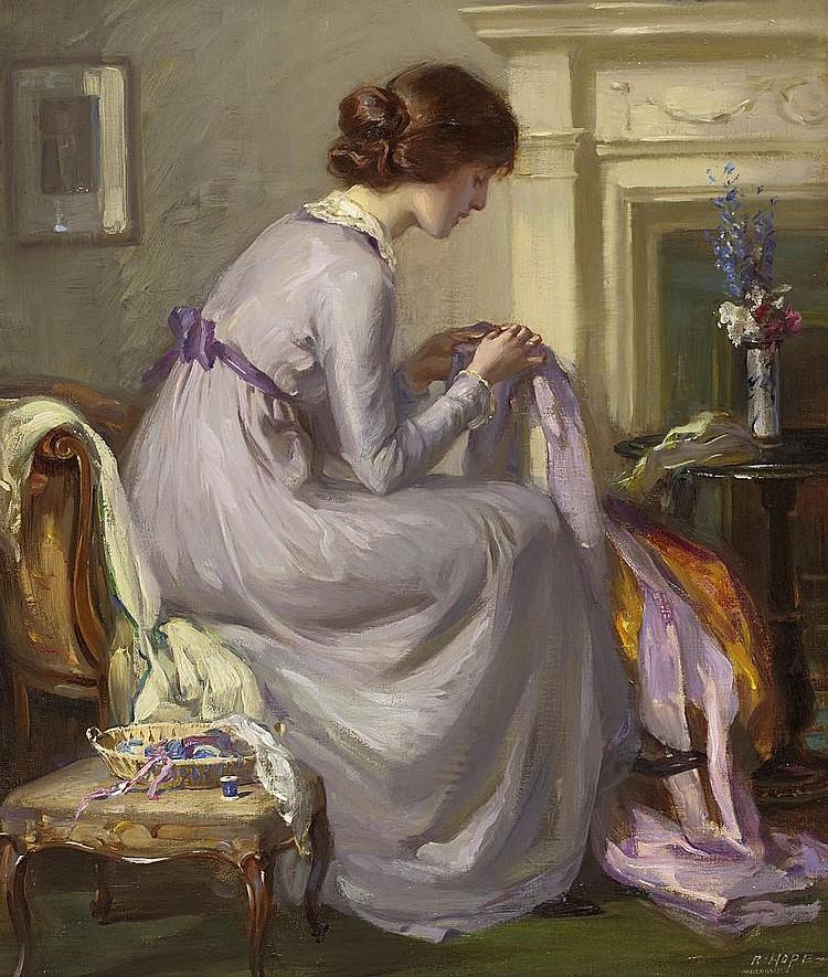 Robert Hope, RSA (British, 1869-1936) The Silken Gown 61 x 51 cm. (24 x 20 1/16 in.)