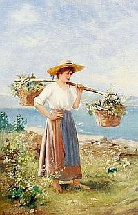 Basilio Coletti (Italian, born after 1863-) Girl with grape baskets