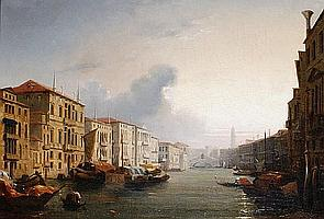 Attributed to Jules-Romain Joyant (French, 1803-1854) The Grand Canal with the Rialto Bridge in the distance