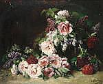 Lothar von Seebach (German, 1853-1930) Still life of flowers