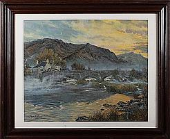 Moss Williams (20th Century) Mist rising on the river