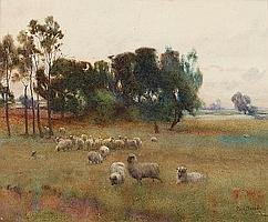 Percy Brooke (British) Sheep in a meadow