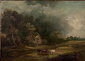 Obadiah Short (British, 1803-1886) Cows watering before an extensive landscape under threatening skies