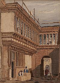 Henry Ninham (British, 1783-1874) 'Old Post Office Court, Norwich 1826'; a pair