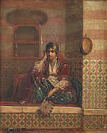 Jan Baptist Huysmans (Belgian, 1826-1906) Seated man with hookah; A corner of the Harem one 26.5 x 20.8cm (10 7/16 x 8 3/16in); the other 26.1 x 20.8cm (10 1/4 x 8 3/16in)