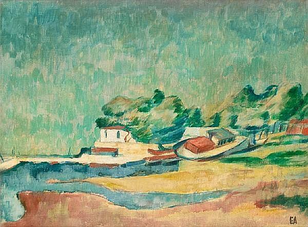 Egon Adler (Czech/American, 1892-1963) Le petit port de plaisance