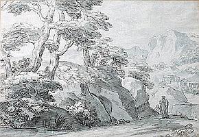Thomas Sunderland (British, 1744-1828) Landscape with figures on a path