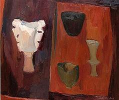 Margaret Firth (British, 1898-1991) 'Heraldic, still life with pots',