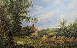 Percy Leslie Lara (British, born 1870) A country cottage 52cm x 77cm.