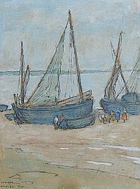 Isobel Rae (Australian, 1860-1940) Fishing boats on the shore of Etaples
