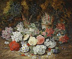 Henry Livens (British, 1848-1943) Still life with flowers