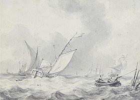Martinus Schouman (Dutch, 1770-1848) Shipping in a swell