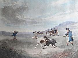 Richard Jones (British, 1767-1840) Going Out, Finding, Coursing, The Death, Benjamin Marshall To Sir John Shelly Bar, This Print of his Celebrated Pointer (Sancho), published by C. Ramdon; and two other coloured engravings 'The Streaky Brested Hen