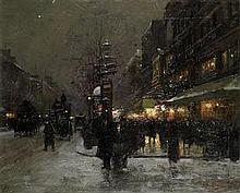 Fausto Giusto (Italian, 1867-1941) Parisian boulevard in winter