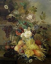 JAN VAN DER WAARDEN (Haarlem 1811-1872) A terracotta urn with grapes, peaches, plums and other fruit on a stone ledge with roses, forget-me-nots, poppies and other flowers