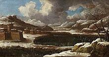 ORAZIO GREVENBROECK (Paris 1670-1730) A winter landscape with huntsmen and their dog in the foreground