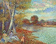AR Lucien Neuquelman (French, 1909-1988) Couple et la fillette repos près du lac