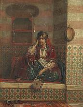 Jan Baptist Huysmans (Belgian, 1826-1906) Seated man with hookah; A corner of the Harem, a pair one 26.5 x 20.8cm (10 7/16 x 8 3/16in); the other 26.1 x 20.8cm (10 1/4 x 8 3/16in).(2)
