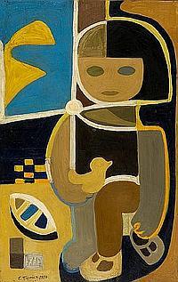 Gianna Persaki (Greek, 1921-2008) Little girl with toys 121 x 76 cm.