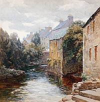 Mary Georgina Barton (Irish, 1861-1949) A river view, Glenties, Co. Donegal