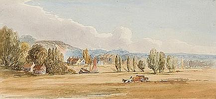 Obadiah Short (British, 1803-1886) Broadland view with cattle watering