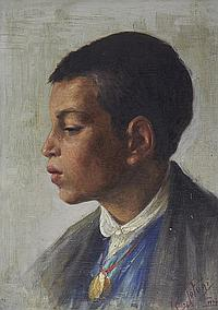 Clemente Tafuri (Italian, 1903-1971) Portrait of a young boy