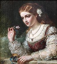 John Robert Dicksee (British, 1817-1905) Portrait of a lady holding a small posy of flowers,