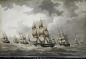 Nicholas S. Cammillieri (Maltese, 1762-1860) Seven warships proceding under sail