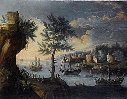 Circle of Orazio Grevenbroeck (Paris 1670-1730) A coastal inlet with shipping at anchor; and A rocky coastline (2)