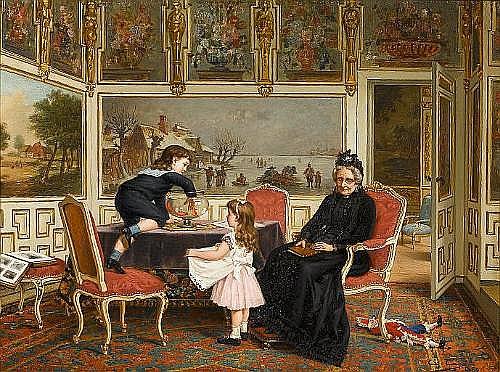 Constant Aimé Marie Cap (Belgian, 1842-1915) Mischief 51 x 67 cm. (20 x 26 1/4 in.)