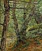 Cesar de Cock (Belgian, 1823-1904) Walking in a forest 55.5 x 46 cm. (21 3/4 x 18 in.)