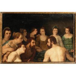 Circle of Cornelis Cornelisz., called Cornelis van Haarlem (Haarlem 1562-1638) A Banquet of the Gods oil on canvas, a fragment 34 x 49.2 cm. (13 3/8 x 19 3/8 in.)