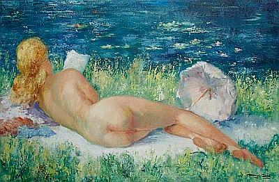 Marguerite Aers (Belgian, born 1918) Reclining nude