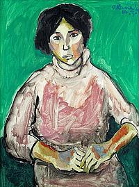Michael Kane (Irish, 1935) Study of a woman against green background