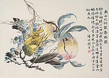 LU HUI (1851-1920) Finger Citron and Longevity Peaches Ink and colour on