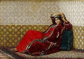 Jan Baptist Huysmans (Belgian, 1826-1906) 'Relaxed beauty'