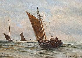 Charles William Wyllie, R.B.A. (British, 1859-1923) A fishing boat and barges in sail, possibly the Thames estuary,