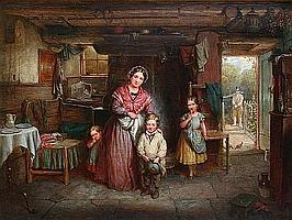 Edwin Cockburn (British, active 1837-1868) Leaving home, a cottage interior with mother and children,