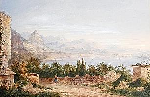 Thomas Richard Hofland (British, 1816-1876) An Italian lake scene