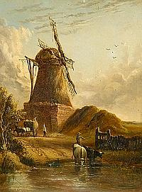 Anthony Sandys (British, 1806-1883) Landscape with haycart, cattle and figures before a windmill