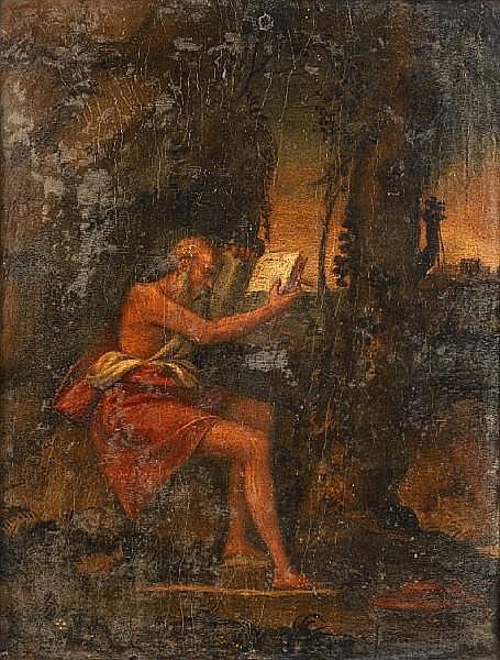 Follower of Giovanni Bellini (Venice circa 1430-1516) Saint Jerome in the wilderness