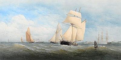 Charles Taylor, Jnr (British, fl. 1843-1866) Shipping off the south coast