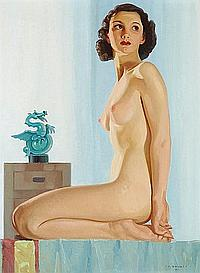 Umberto Bruni (Canadian, born 1914) Seated Nude
