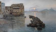 Fausto Giusto (Italian, 1867-1941) Le Palazzo Donn'Anna, Naples