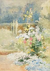 Mary Georgina Barton (Irish, 1861-1949) A border of summer flowers