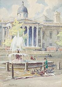 Mary Georgina Barton (Irish, 1861-1949) Girl feeding pigeons by a London fountain
