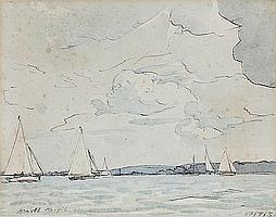 Harold Knight, RA, ROI, RP (British, 1874-1961) Sailing boats