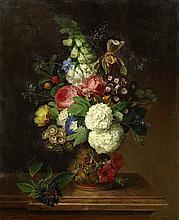 Carl von Saar (19th Century) Still life of summer flowers