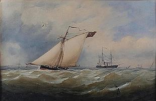 Charles Taylor Jnr. (British, active 1841-1883) Sailing vessels