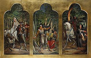 Circle of Alfred Fowler Patten (British, 1826-died circa 1888) Knights and maidens overall size 84 x 141cm (33 1/16 x 55 1/2in).